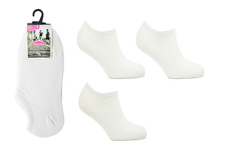 Ladies 3pk White Invisible Socks