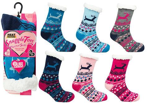 Ladies 1pk HM Fur Lined Deer Socks
