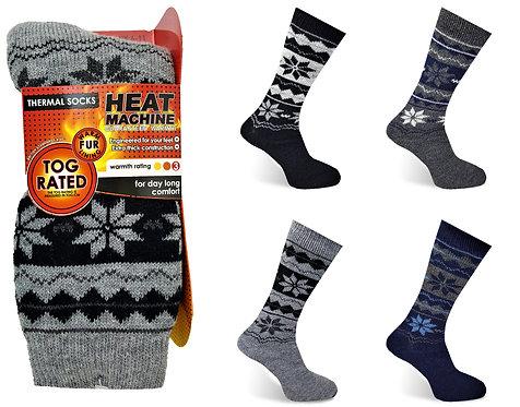 Heat Machine Mens Fur Lined Socks