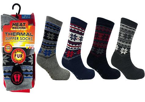 Mens 1pk HM Fairisle Fur Lined Socks