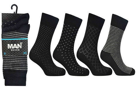 Mens 3pk Man Basic Black Mix Socks