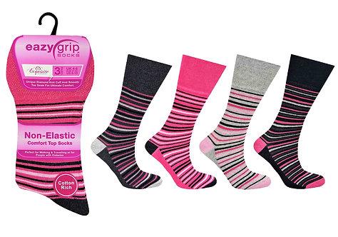 Ladies 3pk Eazy Grip Stripe Socks