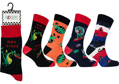 Mens 1pk Jolly Socks - Dino/Dragon