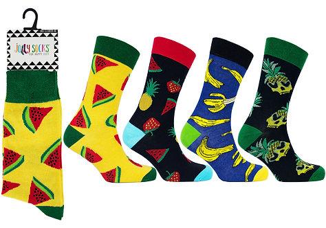 Mens 1pk Jolly Socks - Funky Fruit