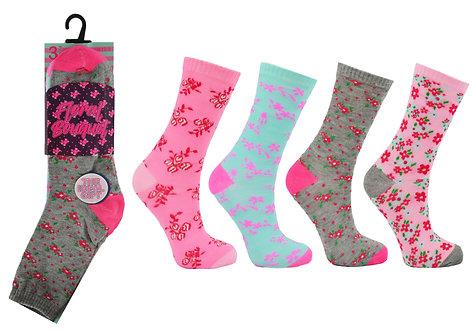 Girls 3pk Novelty Floral Bouquet Socks
