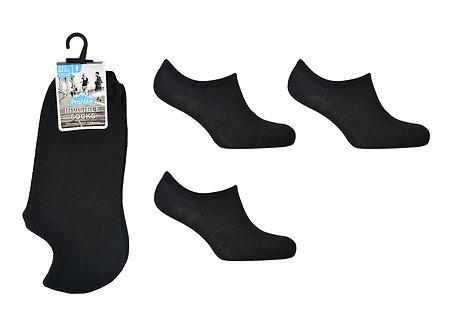 Mens 3pk Black Invisible Socks
