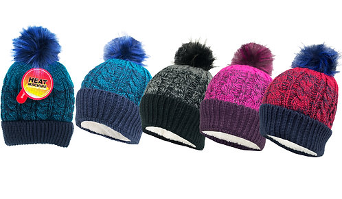 Ladies 1pk HM Self Colour Sherpa Lined Twisted Yarn Pom Pom Hat