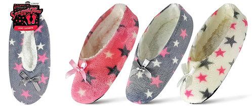 Ladies 1pk Assorted Design Slipperette - Stars
