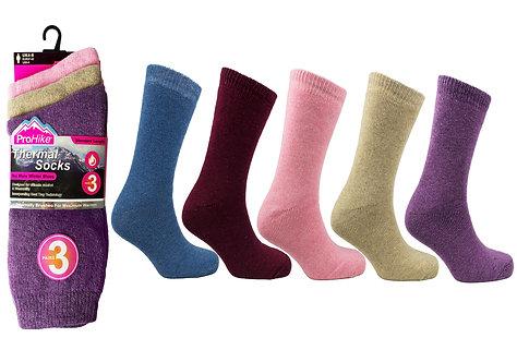 Ladies 3pk Brushed Acrylic Thermal Asst Socks