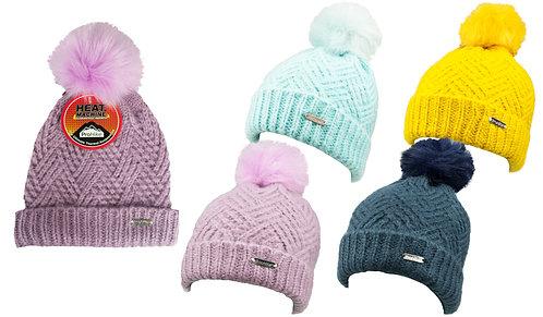 Ladies 1pk ProHike Zig Zag Knit Fur Pom Pom Hat