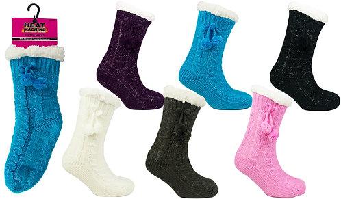 Ladies 1pk HM Cable Knit Fur Lined Socks