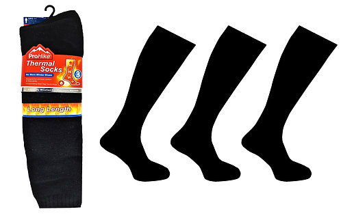 Mens 3pk Thermal Long Black Socks