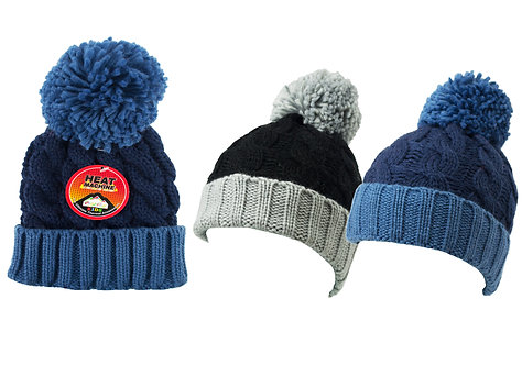 Boys 1pk ProHike Contrast Turn-Up Bobble Hat