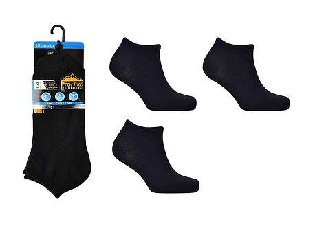 Mens 3pk Black Trainer Socks