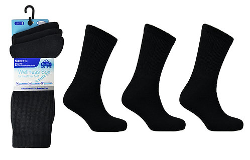 Mens 3pk Non-Elastic Black Sport Socks