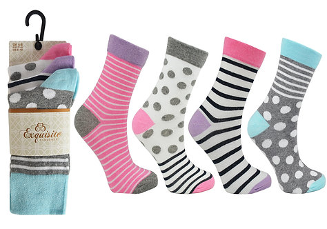 Ladies 3pk Exquisite Stripe & Spots Socks