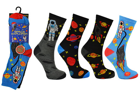 Boys 3pk Novelty Space Explorer Socks