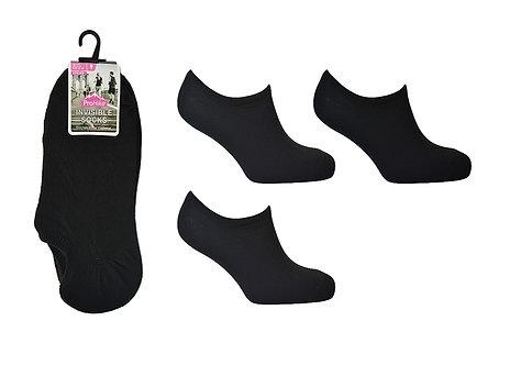 Ladies 3pk Black Invisible Socks