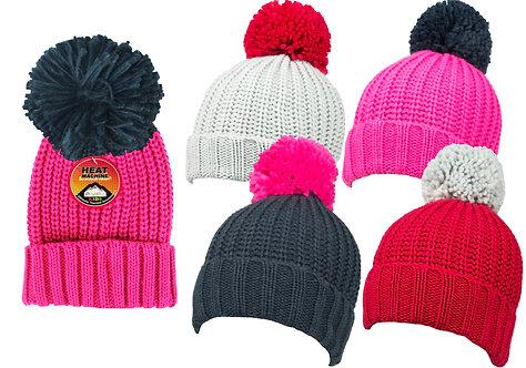 Girls 1pk Plain Knit Bobble Hat