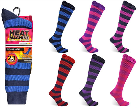 Heat Machine Ladies Long Stripe Socks