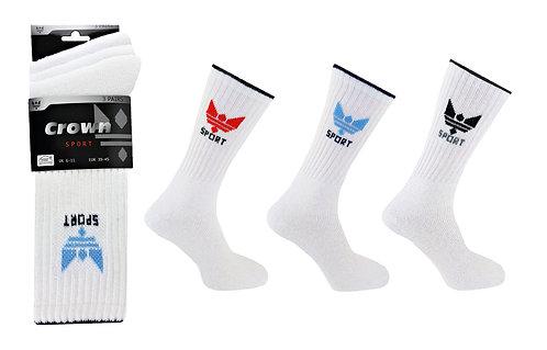 Mens 3pk White Crown Socks