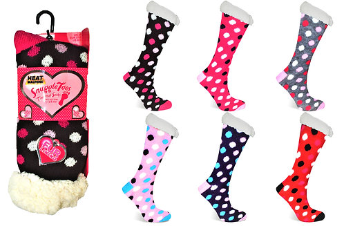 Heat Machine Ladies Fur Lined Spots Socks