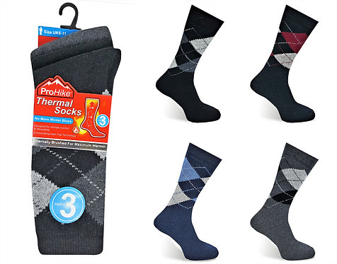 Mens 3pk Thermal Argyle Asst Socks