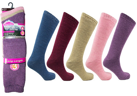 Ladies 3pk Thermal Long Asst Socks