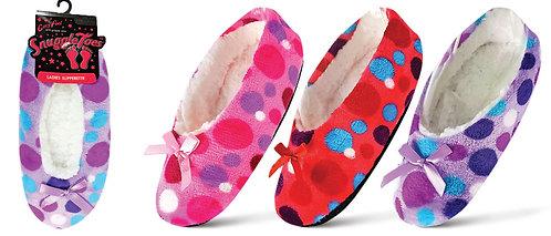 Ladies 1pk Assorted Design Slipperette - Spots