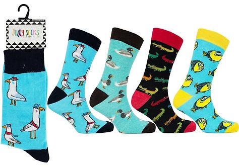 Mens 1pk Jolly Socks - Water Animals