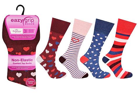 Ladies 3pk Eazy Grip Hearts & Spots Socks