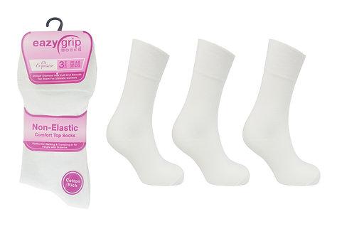 Ladies 3pk Eazy Grip White Socks