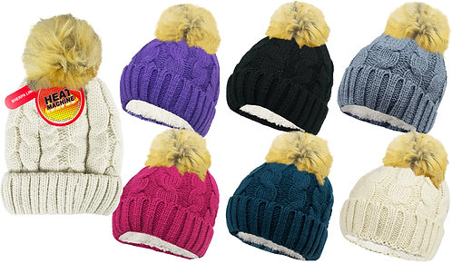 Ladies 1pk HM Natural Colour Sherpa Lined Pom Pom Hat