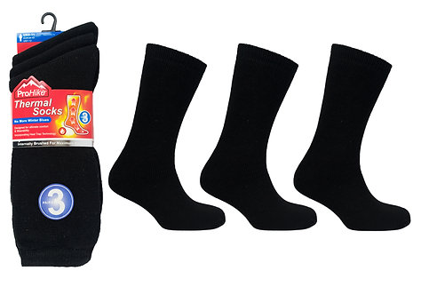 Mens 3pk Brushed Acrylic Black Thermal Socks