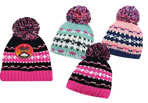 Girls 1pk Multi-Colour Bobble Hat
