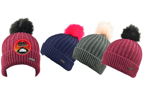 Ladies 1pk ProHike Sparkle Fur Pom Pom Hat