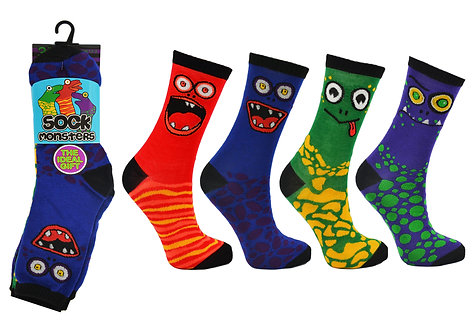 Boys 3pk Novelty Monster Socks