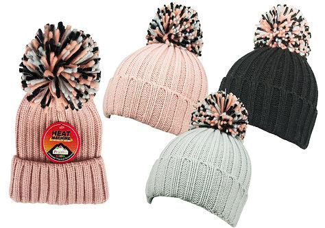 Girls 1pk Lurex Trim Bobble Hat