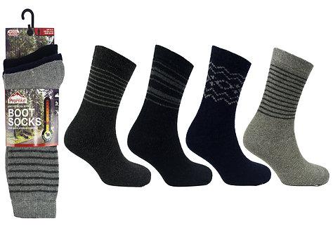 Mens 3pk ProHike Stripe Wool Boot Socks
