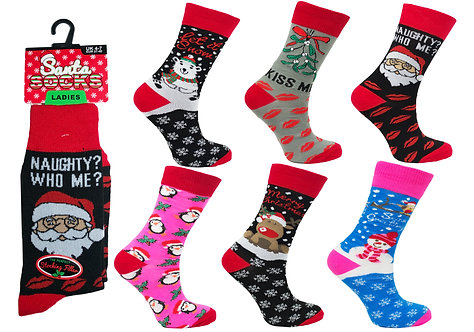 Ladies 1pk Novelty Xmas Socks