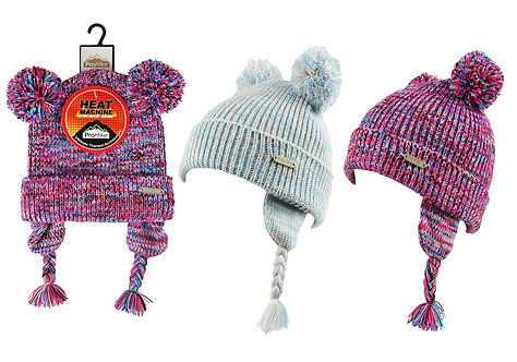 Girls 1pk ProHike Multi Colour Double Pom Pom Hat