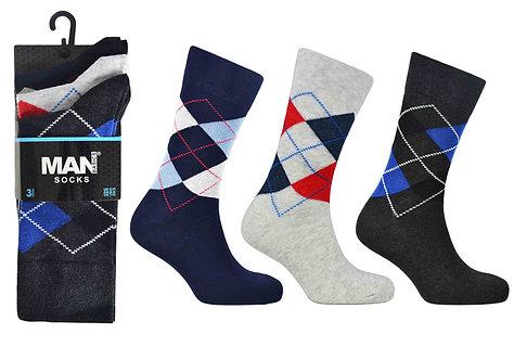Mens 3pk Man Argyle Socks