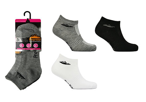 Ladies 3pK Black/White/Marl Trainer Socks