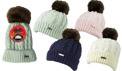 Ladies 1pk ProHike Cable Knit Fur Pom Pom Hat
