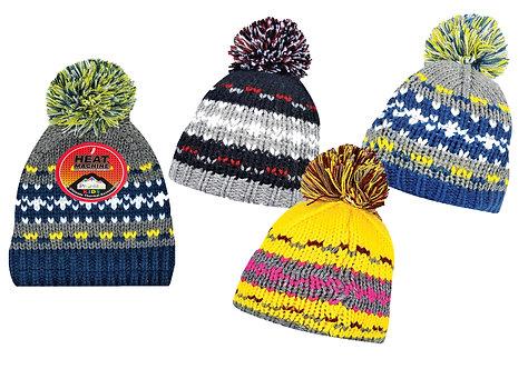 Boys 1pk Multi-Colour Bobble Hat