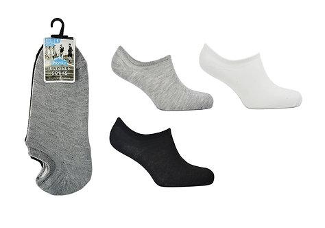 Mens 3pk White/Black/Grey Invisible Socks