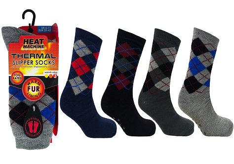 Mens 1pk HM Argyle Fur Lined Socks
