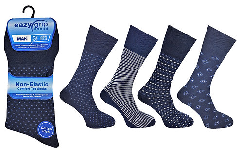 Mens 3pk Eazy Grip Navy Assorted Socks