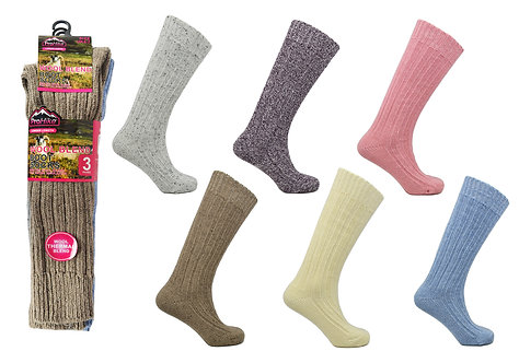 Ladies 3pk Long Hose Mountain Thermal Socks