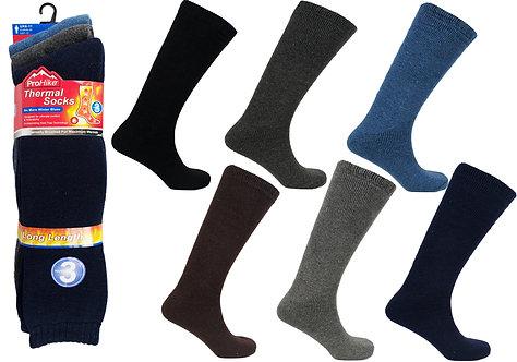 Mens 3pk Thermal Long Assorted Socks